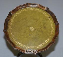 1 De 2 Bevan Funell Vert Lampe En Cuir Vintage Mahogany Trépied Tables End Side