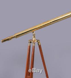 39 Télescope Maritime, Support De Trépied En Bois, Lunette Monoculaire En Laiton Vintage W
