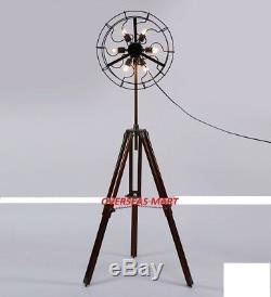 6 Lampes De Ventilateur Avec Support Pour Trépied En Bois Massif, Décor À La Maison Vintage