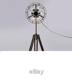 6 Ventilateur De Lampe De Ventilateur Avec Support Pour Trépied En Bois Massif Vintage Home Decorgft