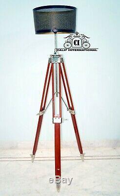Abat-jour En Chrome Bois Grande Lampe Sur Pied Trépied Style Antique Vintage Nautique