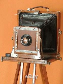 Antique Vintage 5x7 En Bois Champ Caméra Avec Hugo Meyer Lens Et Trépied En Bois