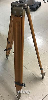 Antique Vintage Caméra Bois / Surveyor Hauteur Ajustable Trépied