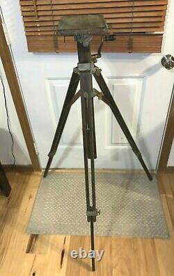 Antique Vintage Grand Format Camera Wood Tilt Head Réglable Tripod Agfa Ansco