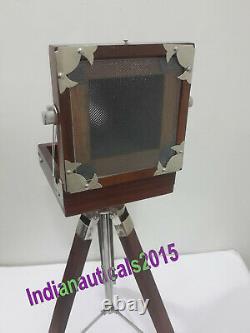 Antique Vintage Look Film Camera Wooden Tripod Collectible Studio