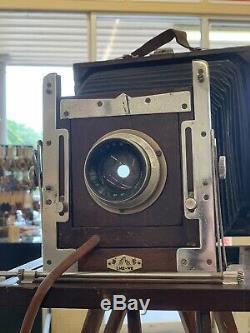 Appareil Photo Ancien Grand Format 8x10, Lm2-w8, Trépied En Bois, Supports De Plaque, Vintage