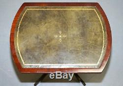 Bevan Funell Vert Lampe En Cuir Vintage Mahogany Trépied Side End Vin De Table