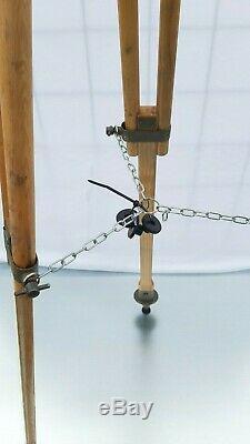 Bois Trépied Patinée Réflecteur Support Lampadaire Industriel Loft Vintage 138cm