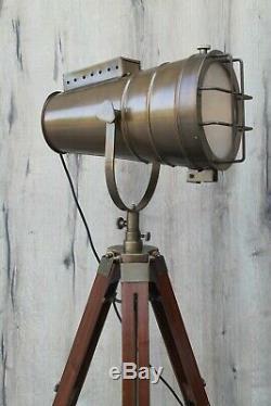 British Antique Brown Vintage Design Tripod Lampadaire