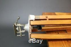 Caméra De Bois Trépied Vintage Surveyor Lampe Spot Militaire De Teck Et Raccords En Laiton