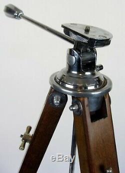Caméra Panrite En Bois En Bois Vintage Trépied Avec Universal Head Belle Et Élégante
