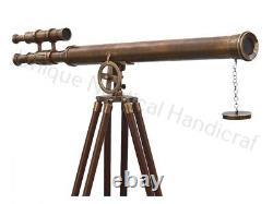 Capitainerie Sol En Bois Tripod Floor Antique Vintage Brass Permanent Telescope