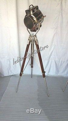 Chrome Trépied Spot Light Trépied Vintage Industriel En Métal & Bois Décoratif