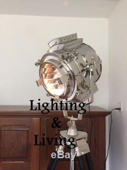 Classic Nickel Lampes Tripod En Bois Vintage Hollywood Éclairage Royal Decor
