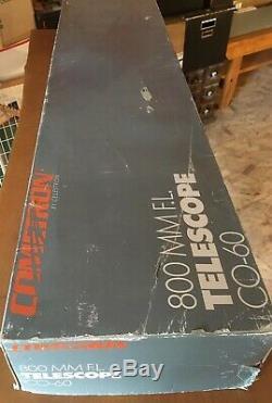 Cometron Rare Vintage De Celestron 800 Co-60 Lunette Avec Trépied / Japon En Bois