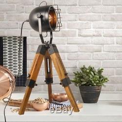 Decoluce Industriel Vintage Lampadaires Trépieds Sur Pied De Table En Bois Noir