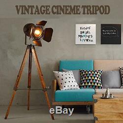 Decoluce Vintage Lampadaire Sur Trépied, Projecteur Nautique Teatre, Industriel