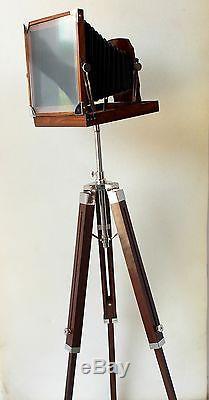Décor De La Marine Appareil Photo Vintage Bureau Trépied En Bois Studio Film Caméra Décoratif