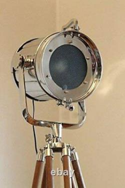 Designer Chrome Vintage Industrial Tripod Floor Lamp Spot Light Floor Lamp