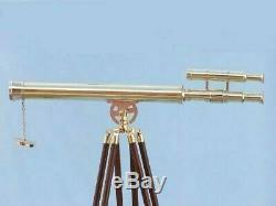 Double Baril De Télescope En Laiton Massif Maritime Fait Main Vintage Avec Trépied