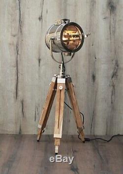 Finition Vintage Teck En Bois Tripod Lampadaire Home Décor Design D'intérieur