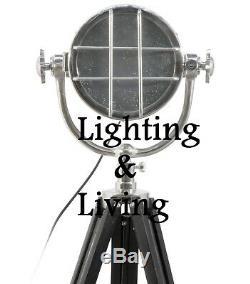 Grand Vintage Retro Spotlight Trépied Lampadaire Nautique Home Decor Cadeau Lumière