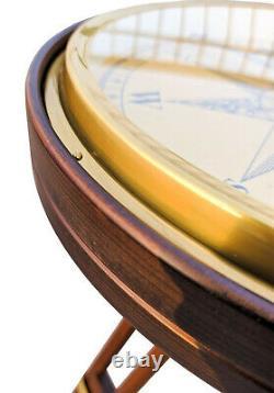 Grande Boussole Nautique De Laiton 35 CM Avec La Table Basse Vintage De Stand De Trépied En Bois