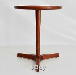 Hans Andersen Artex Vtg MID Century Table D'appoint En Bois De Teck Trépied Moderne Danois