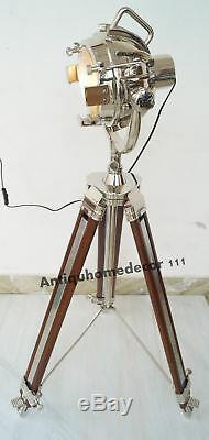 Hollywood Décoratifs Pour La Maison Nautique Spotlight Vintage Lampe Trépied Sol En Bois