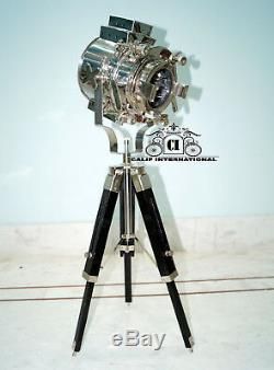 Hollywood Nautique Vintage Searchlight Lampe De Table Spotlight Cadeau En Bois De Trépied