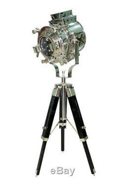 Hollywood Projecteur Nautique Lampe De Table Searchlight Vintage Avec Trépied En Bois