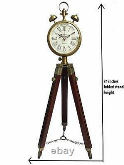 Horloge En Laiton Avec Trépied En Bois Réglable Stand Vintage Maison Article Décoratif
