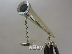 Laiton Antique Télescope Avec Trépied En Bois Vintage Nautical Marine Décor