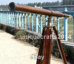 Laiton Antique Vintage Spyglass Telescope Nautique Avec Trépied En Bois Support Décor