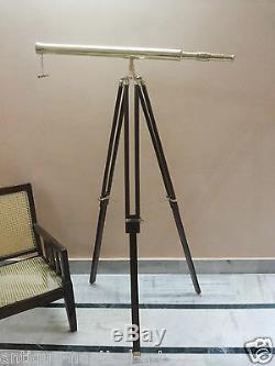 Laiton Lunette Astronomique Antique Avec Trépied En Bois Support Décoratif Vintage
