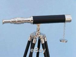 Laiton Nautique De Concepteur Fait Main Vintage De Telescope Avec Le Trépied En Bois