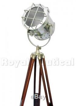 Lampadaire De Style Projecteur Antique Nautique Vintage Trépied En Bois D'éclairage Led