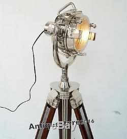 Lampadaire De Style Spot De Cinéma De Style Industriel Vintage, Lampe Sur Trépied En Bois