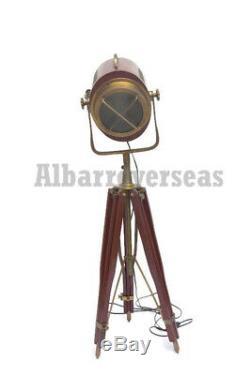 Lampadaire Décoratif Vintage En Bois Rouge Avec Projecteur En Bois Hollywood