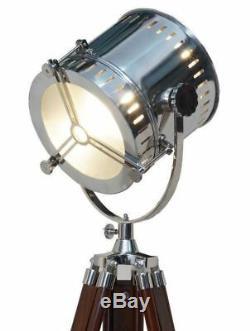Lampadaire Design Nautique Vintage Lumière De Recherche Marine Avec Trépied En Bois