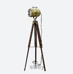 Lampadaire En Bois Antique Vintage De Lampadaire D'éclairage De Projecteur