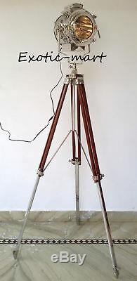 Lampadaire Nautique Avec Trépied Studio Spot Projecteur Vintage Marine Decor Itm
