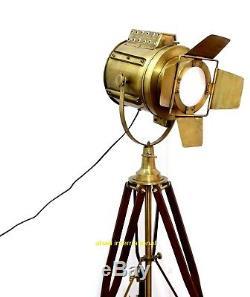 Lampadaire Nautique Vintage En Laiton Projecteur Spot En Bois