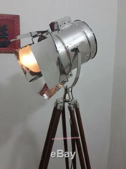 Lampadaire Rétro Avec Projecteur Trépied En Bois