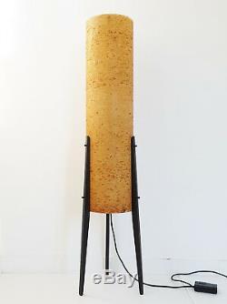 Lampadaire Rocket Tripod Vintage 1970 Bois & Résine Années 70 Années 70 Space Age