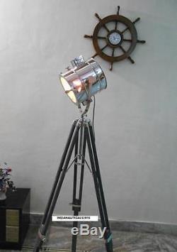 Lampadaire Spotlight Vintage Avec Trépied En Bois Gris