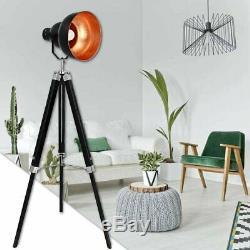 Lampadaire Trépied E27 Projecteur Nautique Lampe De Studio En Bois Vintage