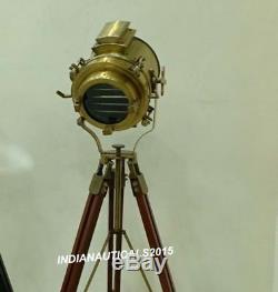 Lampadaire Trépied En Bois Antique Spotlight Vintage Lampe De Projecteur De Recherche