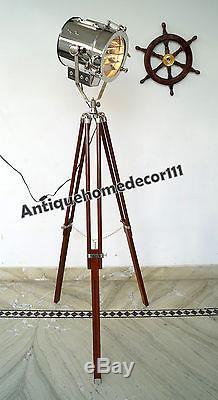 Lampadaire Trépied En Bois De Design Industriel Vintage