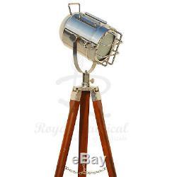 Lampadaire Trépied En Bois Spotlight Vintage Nautique Éclairage En Bois Lampe À Led